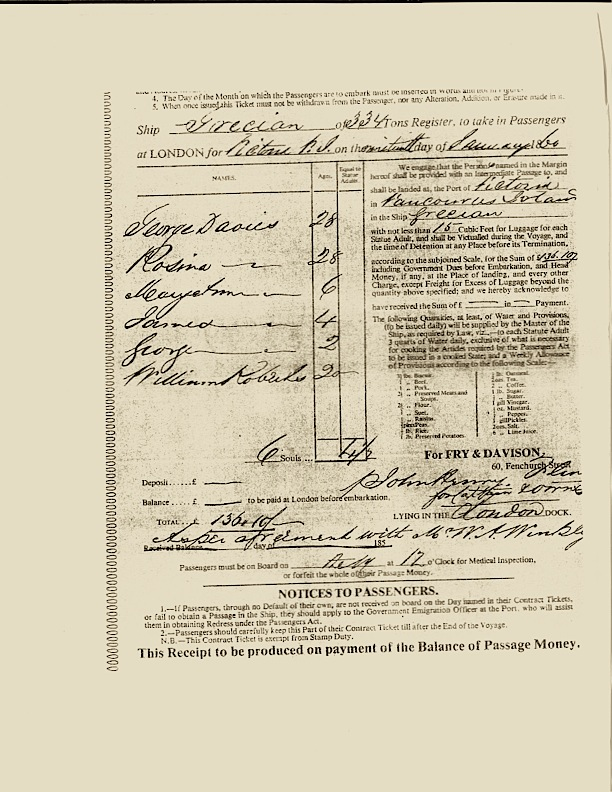 The Immigration record for the Davies Family