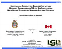 MONITORING DEMOLITION TRAINING IMPACTS IN MILITARY TRAINING AREA WQ ON SEA LIONS IN THE RACE ROCKS ECOLOGICAL RESERVE, BRITISH COLUMBIA PROGRESS REPORT #1 REVISED LGL, Dec 8, 2010 (PDF)