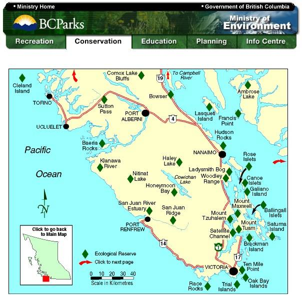 Vancouver Island Lighthouses Map