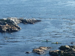 Kayakers next to South Rock