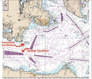 A map showing the location of the tanker lanes, within 3-5 nautical miles of Race Rocks.