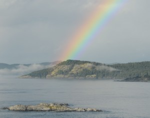 A rainbow appeared as the fog was burning off this morning. Turbine Rock is in the foreground. The pot of gold is Church Point.