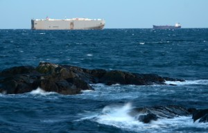 The car carrier Seven Seas Highway and another cargo ship pass within a few kilometres southeast of Race Rocks Ecological Reserve. Nov. 12, 2014. Photo by Nick Townley