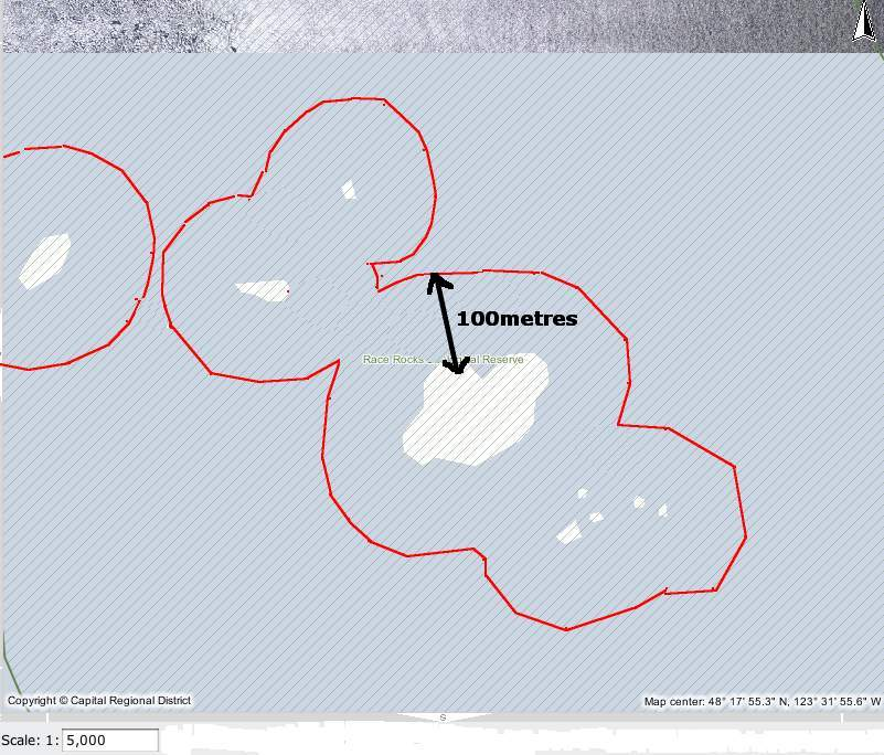 The red line shows the 100 metre distance from the land masses at Race Rocks North rock omitted form this view.