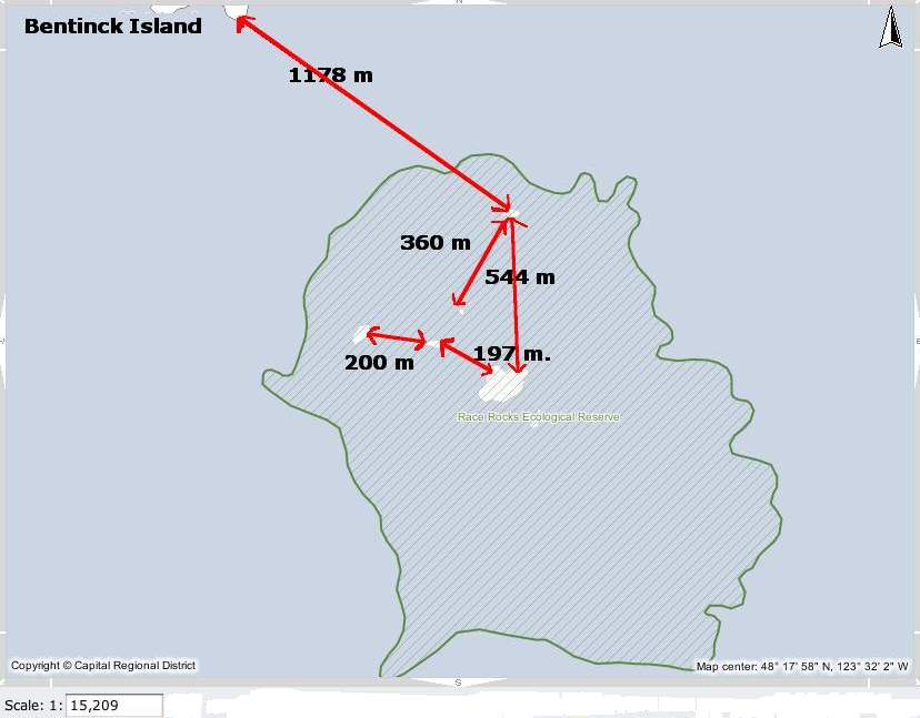 Measured distances in the Race Rocks Archipelago. recommended minimal viewing distance from nesting birds or marine mammal haulouts.