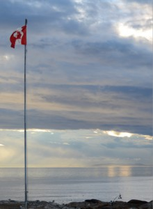 Saturday evening's sky with the west wind showing off the Race Rocks flag.