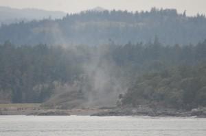Smoke from blasting