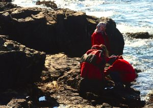 Team huddle on tide pool, while one student keeps a watch from above.