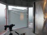 snow build up on North facing window of lantern room